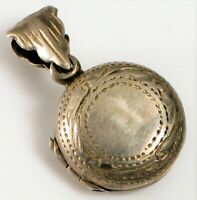 ANTIQUE STERLING SILVER ENGRAVED ROUND PHOTO LOCKET PENDANT SMALL DAINTY !