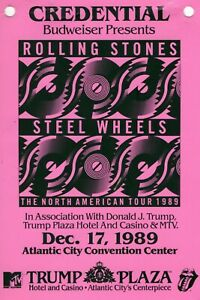ROLLING STONES/GUNS & ROSES DEC. 17, 1989 WORKING PASS CREDENTIAL-ATLANTIC CITY-