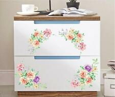 Wardrobe Decoration PVC 1 Pair Peony Toilet Decor Fridge Decals Wall Stickers B
