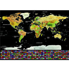 Travel Tracker Big Scratch Off World Map Poster w/ Country Flags Map Gift J0K1G