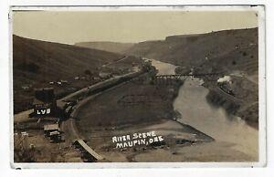 River Scene Maupin Deschutes River RR Bridge Hunt's Ferry Warehouse Oregon RPPC