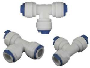 "Equal T Tee 1/4"" Inch Reverse Osmosis Aquarium Pushfit Quick Fitting Connector"