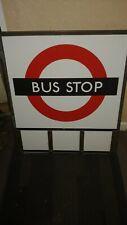More details for very rare vintage london transport bronzed frame enamel bus stop e3 variant vgc
