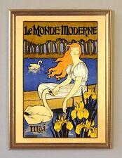 Le monde moderne 1896 art nouveau AFFICHE MAI CYGNE fac-similé 120 en or
