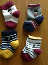 BABY'S SOCKS 0-6 MONTHS M&S 4 PAIR NAVY MIX WITH EMBLEM 78% COTTON BRAND NEW