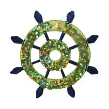 ID 2695 Sequin Ship Wheel Patch Nautical Boat Emblem Embroidered IronOn Applique