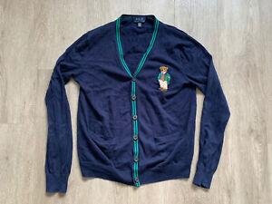 Polo Ralph Lauren Cardigan Boys XL Polo Bear Logo Blue Long Sleeve