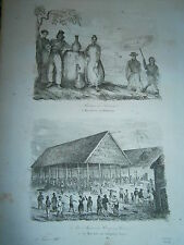 gravure 1839  Océanie Dumont d'Urville Habitants d'Amboine Marché Chinois