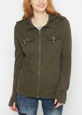 Womens Military Jacket Jersey Hoodie - Army Green - Sz M - NEW