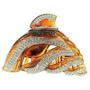Extra Sparkly Tortoise Shell Brown Diamante Crystal Evening  Ladies 9cm Hair Cla