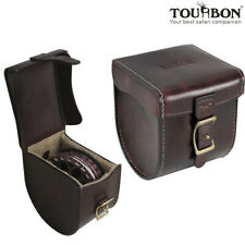 Vintage Fly Fishing Reel Hold Case Spool Protection Storage Box Leather-TOURBON