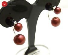 Sided Earrings for Women Jewelry e703 8-11mm Red Flat Round Natural Pearl Double