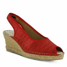 Spring Step Azura Jeanette Wedge Sandals Red Satin