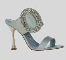 Nuevo Manolo Blahnik FIBIONA Cristales Satén Azul Hebilla Mula Boda Zapatos 40