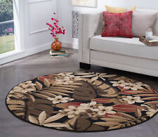 "8' Round (7'10"") Tropical Palm Floral Coastal Black Area Rug"