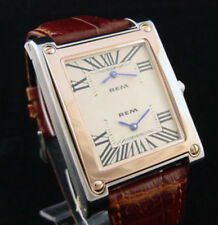 17 Jewel Dual Time Zone Stainless Steel Wind Up WristWatch