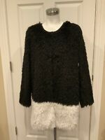 Hazel Black & White Fuzzy Body Jacket, Size Medium, NWT!