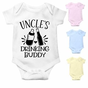 Uncle's Drinking Buddy   Funny Baby Grow   Bodysuit Baby Vest   Baby Gift Uncle