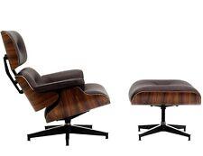 Plywood Lounge Chair Ottoman ROSEWOOD 100% Genuine BROWN GRAIN Italian Leather