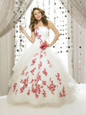 Red and White Lace Ball Bride Wedding Dresses Bridal Gown Custom Size 4-28