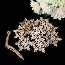 10pcs Snowflake Wooden Embellishment Christmas Xmas Hanging Tree Decoration