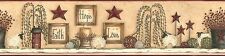 New Primitive Folk Art FAITH HOPE lOVE SHEEP STAR WILLOW TREE Wallpaper Border