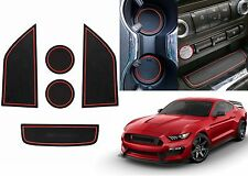 5pc Red Custom Fit Cup Holder Liners For 2015-2018 Ford Mustang New Free Ship