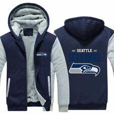 Seattle Seahawks Football fan's Hoodie winter Hooded Fleece Coat Thicken Jacket