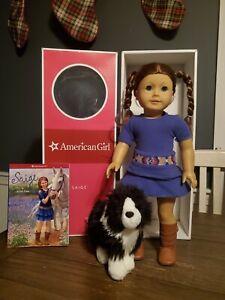 "American Girl 18"" Saige Doll w/ Box, Book and Dog (Retired)"