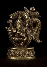"Thailand Brass Seated Ganesha & Ohm Statue Amulet  - 6.5cm(2.55"")"