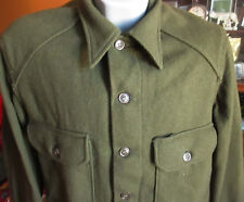 MEDIUM Vtg field shirt wool olive green 108 date military cold weather winter