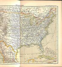 Amérique du Nord Etats-Unis d'Amérique USA superficie par états MAP CARTE 1896