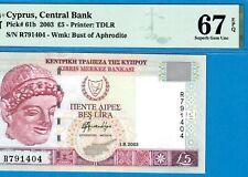 CYPRUS-5 POUNDS-2003-PICK 61b **PMG 67 EPQ SUPERB GEM UNC**