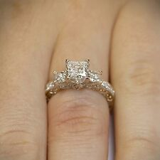 1.7ct Princess Cut Diamond 3 Stone Vintage Engagement Ring 10k Solid Yellow Gold