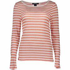 GANT Womens Beach Linen Jumper Lightweight Long-Sleeved Top Orange White Stripes