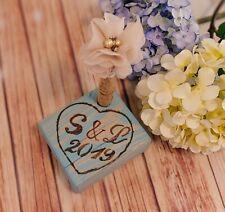Rustic Aqua GuestBook Pen Set Pen Holder with initials Wedding Decoration MARKER