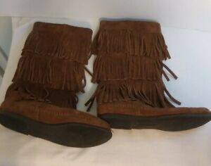 Minnetonka Moccasins 1638 3 Layer Fringe Calf High Brown Suede Boots Sz 7 women