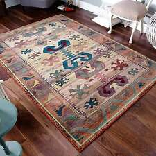 Large Gabbeh Tribal Rugs Multi Colour Rust & Blue Wool Look 120x180cm 50/1C