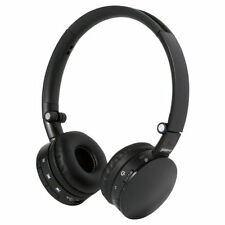 Auriculares negros de audio portátil con conexión Bluetooth