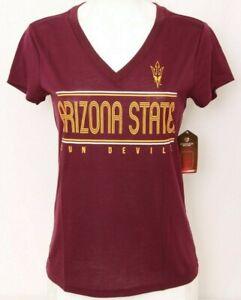 NEW Arizona State Sun Devils Colosseum Maroon V-Neck Tee Shirt Women's M