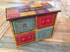 Multi Colour Mango Wood Box Small Chest of Draws Store Trinkets Hand Painted