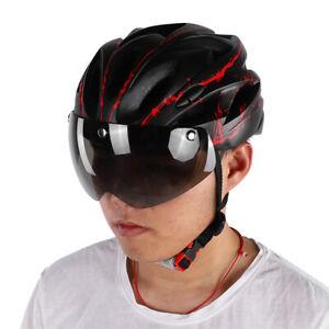 Adult Radhelm Fahrradschutzhelm Helm mit Schutzbrille Goggles Herren Damen Rot