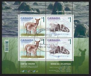 DEER = WALRUS = Souvenir Sheet of 4 stamps CTO OG Canada 2005 #1689b
