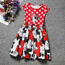 Mickey Mouse Girls Kids Princess Sleeveless Skater Mini Dress Party Prom Gown