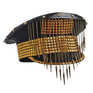 Punk Military Cap Hat Women Black Steampunk Pride Captain Gold Rivet Club Chain