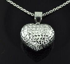 3-d  18k solid white gold pop hollow heart pendant  h3jewels #1398 ultralight