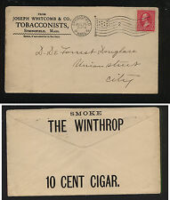 US  Winthrop 10 cent cigar ad cover 1898 clean neat cover           MS0104