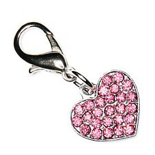 Diamante Bling Sparkly Crystal Heart Cat Dog Collar Bag Phone Charm
