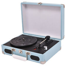 Portable 3-Speed Vintage Vinyl Record Player Turntable Stereo Rca Mp3 Suitcase