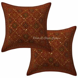 Decorative Cotton Floral Sequins 16x16 Gold Zari Embroidered Throw Pillow Covers